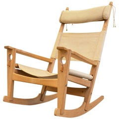 Keyhole Rocking Chair in Solid Oak by Hans Wegner for Getama, Denmark