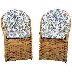 Couple of Italian Woven Chairs