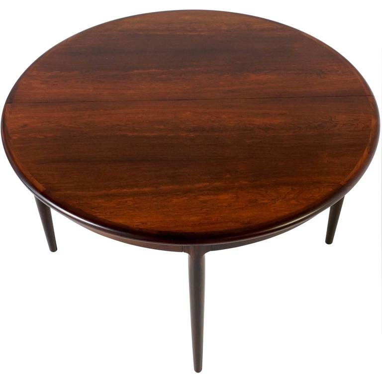 Round Extendable Danish Dining Table in Rosewood by Niels Otto Møller