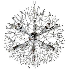 Typical 1960s Chrome Sputnik Chandelier by Gaetano Sciolari