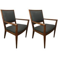 Pair of T. H. Robsjohn-Gibbings Walnut Armchairs
