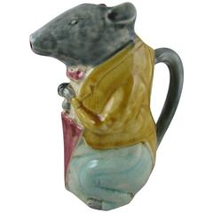 19th Century French Barbotine Majolica Pottery Pitcher City Badger with Umbrella