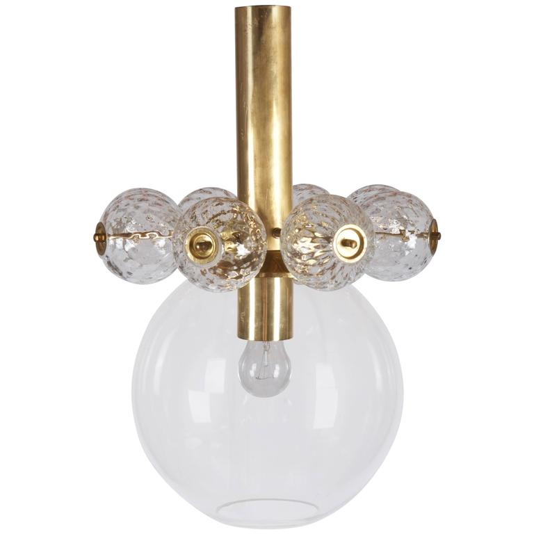 Beautiful, Rare Brass and Glass Pendant by Kamenicky Senov 1