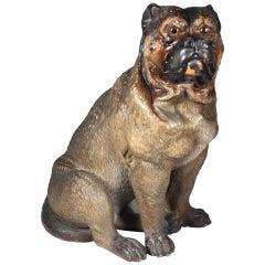 Victorian Austrian Cold Painted Terracotta Bulldog