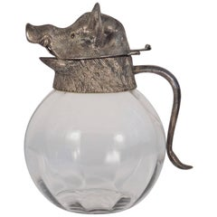 Wild Boar Glass and Metal Pitcher, Italy 1970s