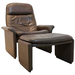 De Sede DS-50 Adjustable Lounge Chair and Ottoman in Soft Brown Neck Leather