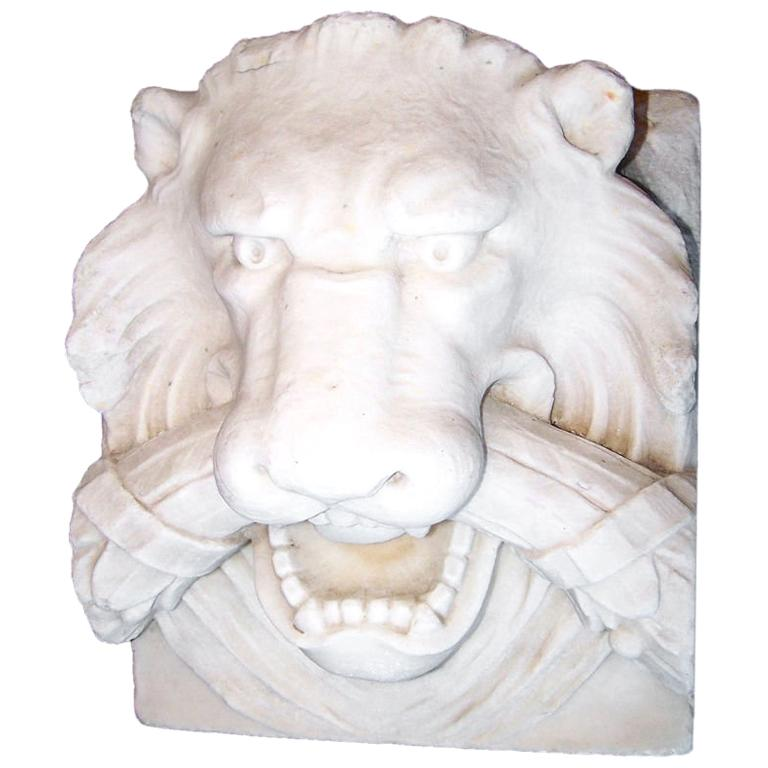 19th Century Marble Lion Architectural Element Sculpture For Sale