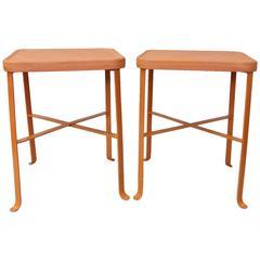 Pair of Bennington Pottery Terra Cotta Outdoor Tables