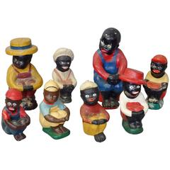 Collection of Folk Art Cement and Plaster African American Fisher Boys