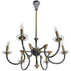 French Moderne Patinated Brass Chandelier by Maison Lunel