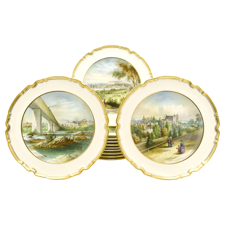 12 Copeland Spode Hand Painted Historic Fresh Water Cabinet/Dessert Plates