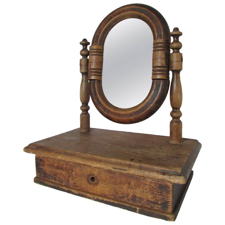 19th century french vanity mirror with drawer for sale at 1stdibs. Black Bedroom Furniture Sets. Home Design Ideas