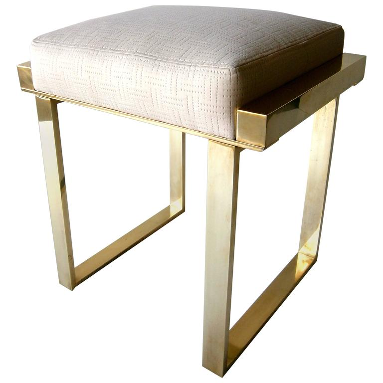 Brass Plated Quot Boxline Quot Vanity Stool By Charles Hollis