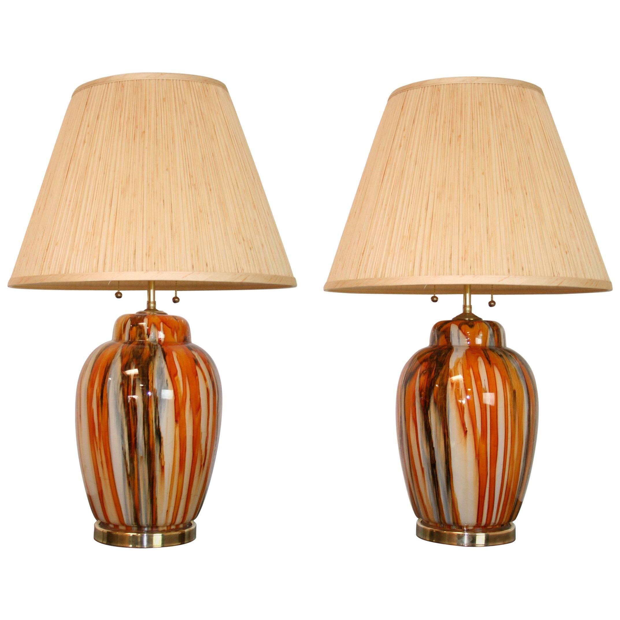 Pair of Italian Modern Glass Lamps