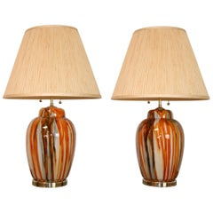 Pair of Italian Modern Glass Lamps