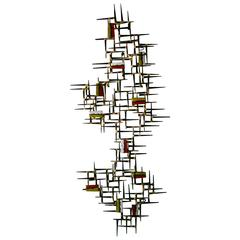 Contemporary Steel Wall Sculpture with Hand-Made Enamel Accents by Del Williams