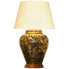 Large Mid-Century Modern Gold Glazed Incised Lamp
