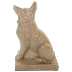 French Art Deco Ceramic Dog Sculpture by Louis Fontinelle