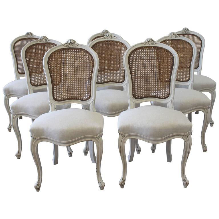 Set Of Eight Vintage French Painted Cane Back Dining Chairs 1