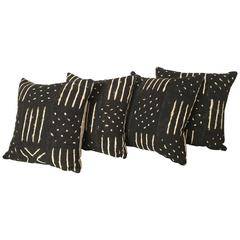 Handmade Black and White Graphic African Mud Cloth Pillows
