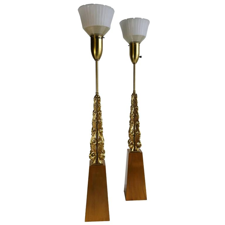 Monumental Pair of Gold Gilt Table Lamps, Stunning Modern Regency by Rembrandt