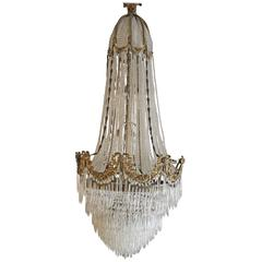 Large Antique French Gilt Bronze Empire Chandelier