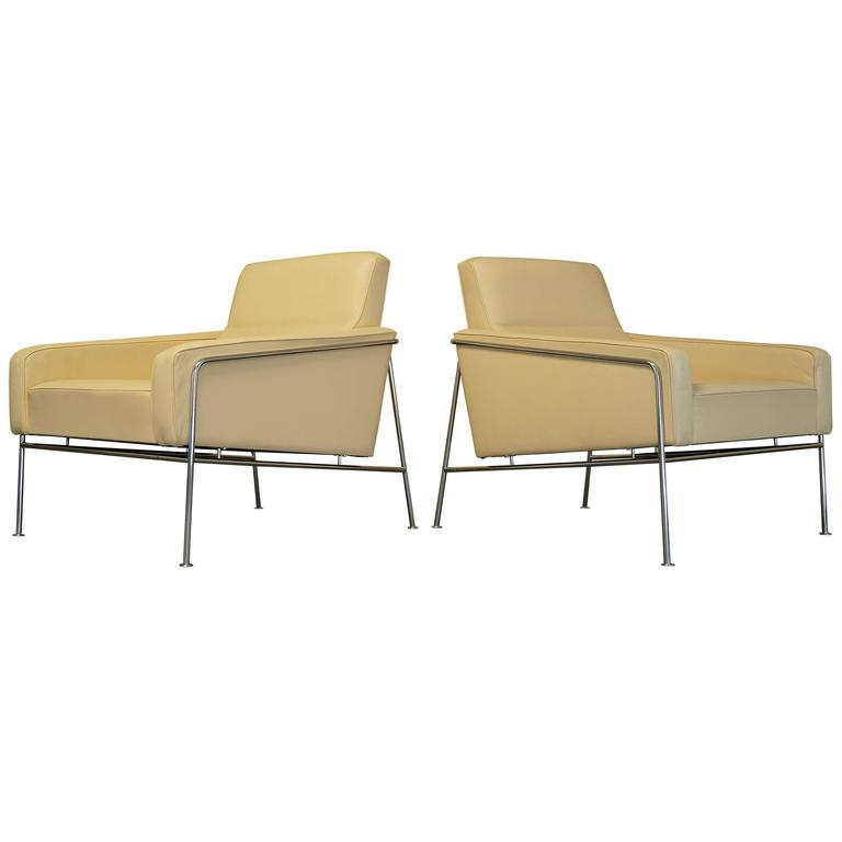 Danish Leather Arne Jacobsen Series 3300 Lounge Chairs, Fritz Hansen