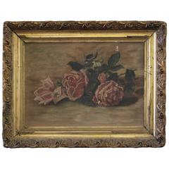 Antique Roses Oil on Canvas Painting in Giltwood Frame