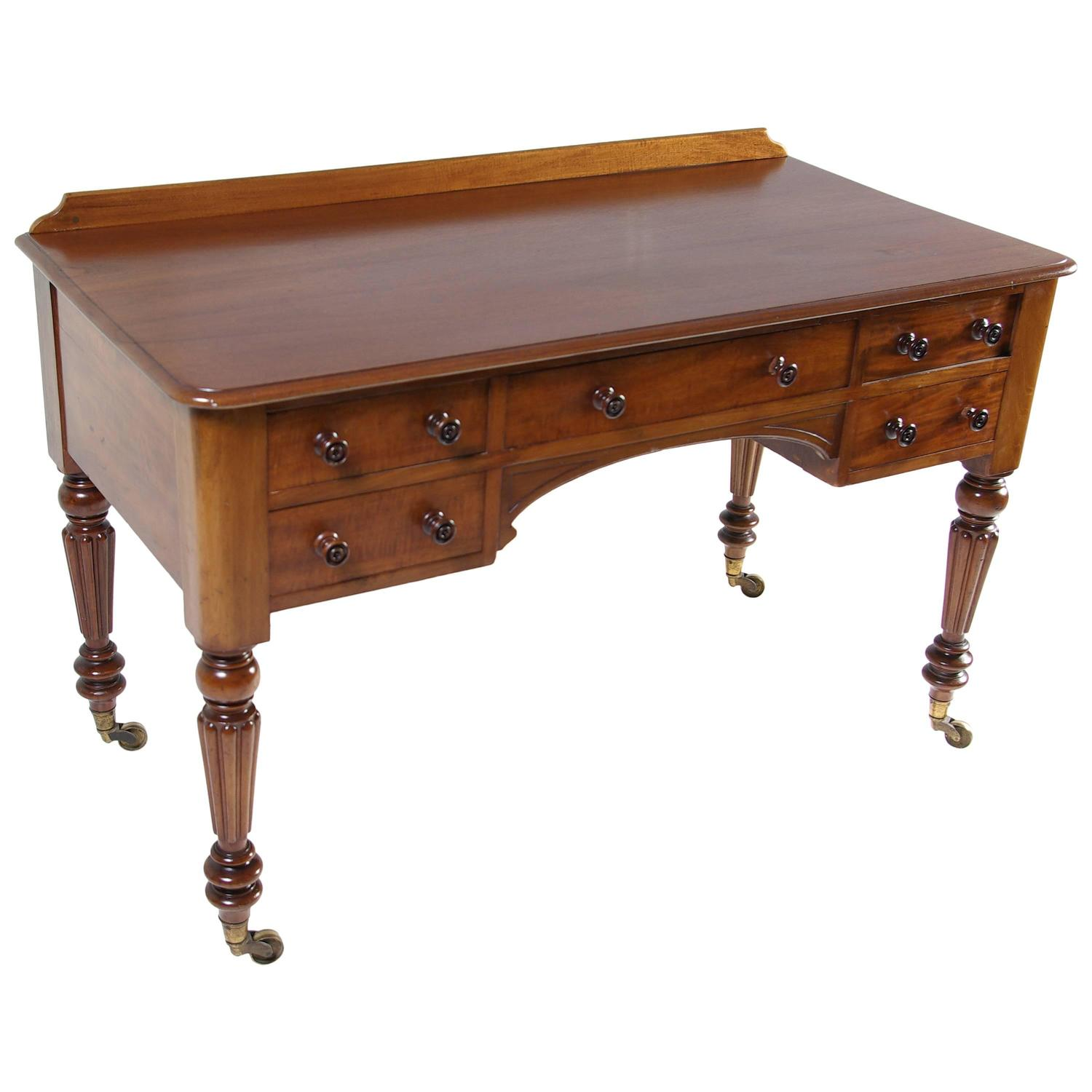 #A0662B  William 4th Mahogany Writing Desk Table With Five Drawers At 1stdibs with 1500x1500 px of Recommended Writing Tables With Drawers 15001500 save image @ avoidforclosure.info