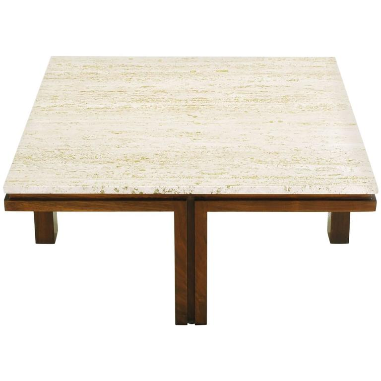 Walnut And Travertine Square Coffee Table With Offset Legs