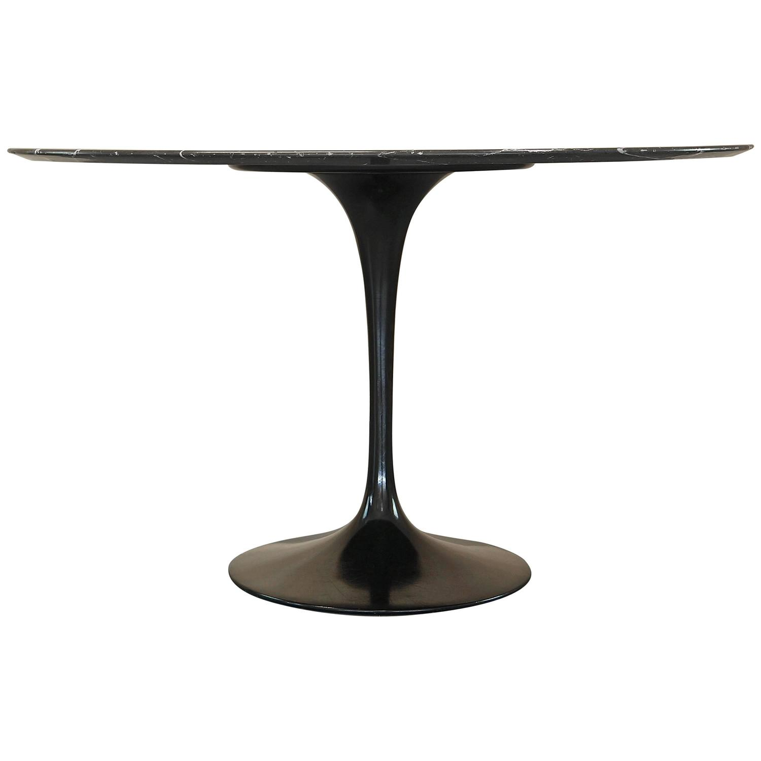 Eero Saarinen Black Nero Marble Tulip Dining Table for Knoll Mid