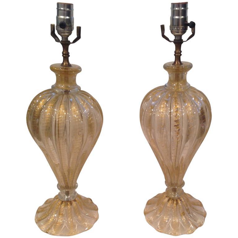 Vibrant Pair of Gold Cordonato D'oro Barovier and Toso Murano Lamps