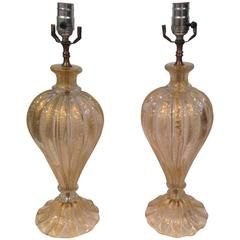 Vibrant Pair of Gold Cordonato D'oro Barovier and Toso Murano Lamps