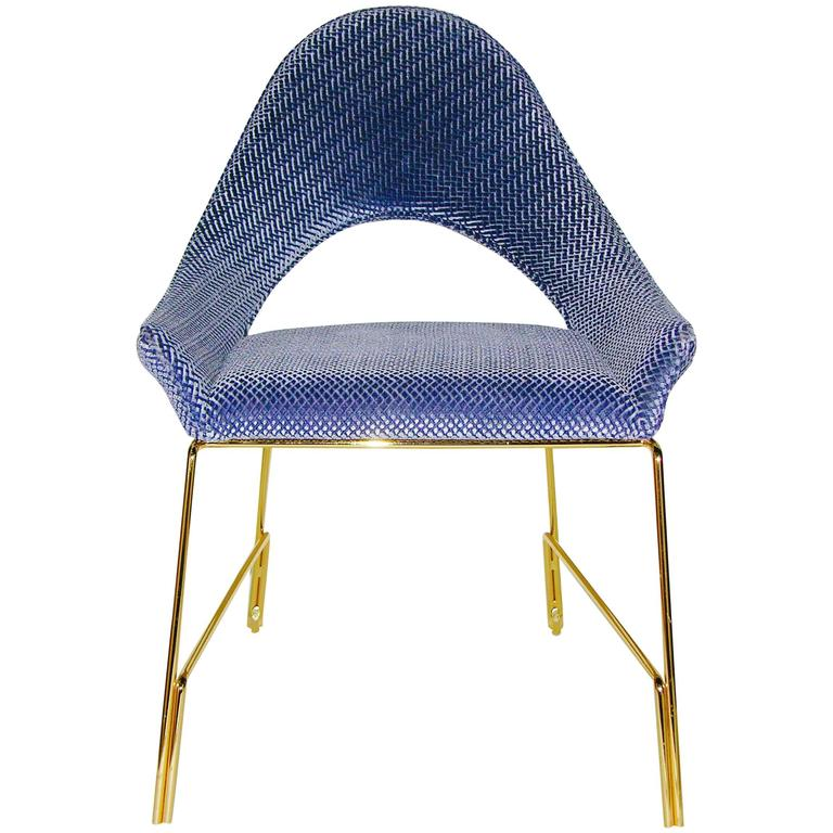 Smania Italian Modern Prototype Brass And Azur Blue Living Room Armchair  For Sale