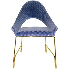 Smania Italian Modern Prototype Azur Blue Velvet Armchair