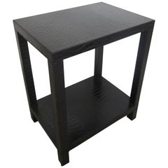 French Modern Black Leather End or Nightstand Table