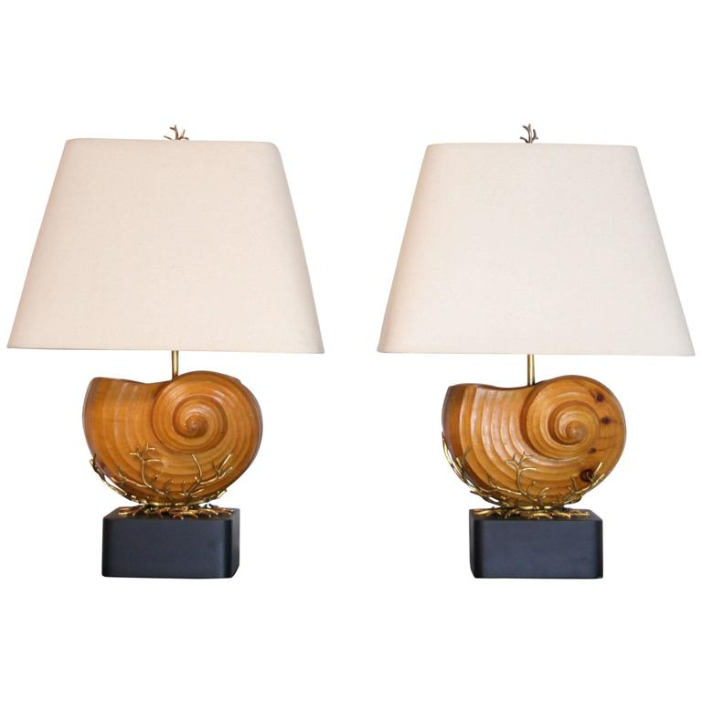Pair of Carved Wood Nautilus Shell Lamps