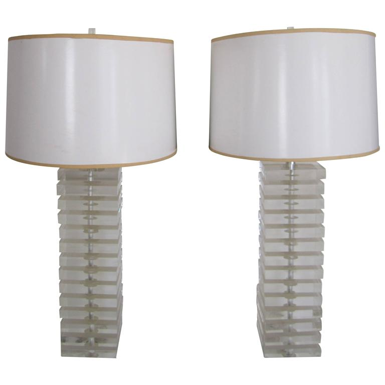 Pair Tall Modern Lucite Table Lamps