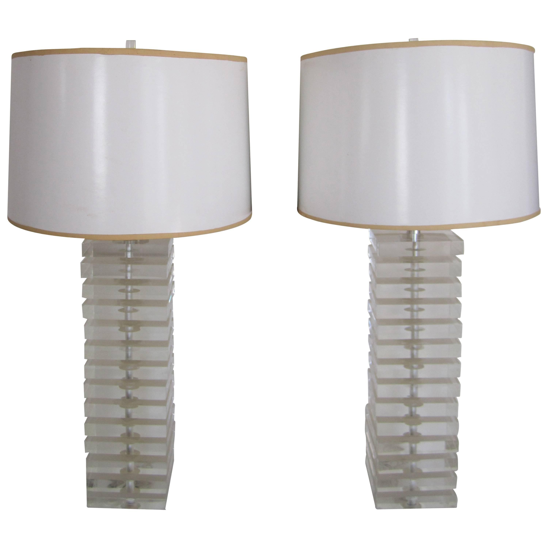 Designer Lucite Table Lamps by George Bullitt, Pair
