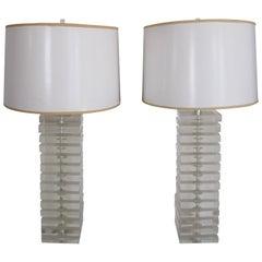 Designer Lucite Table Lamps by George Bullitt