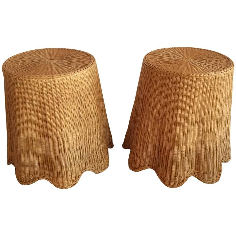Wonderful Vintage Pair Of Wicker Rattan Drapped Drape End Side Tables Palm Beach  Tropical 1