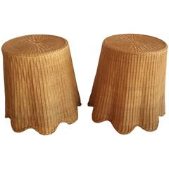 Vintage Pair of Wicker Rattan Drapped Drape End Side Tables Palm Beach Tropical