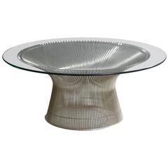 Nickel-Plated Steel Wire, Warren Platner Coffee Table for Knoll