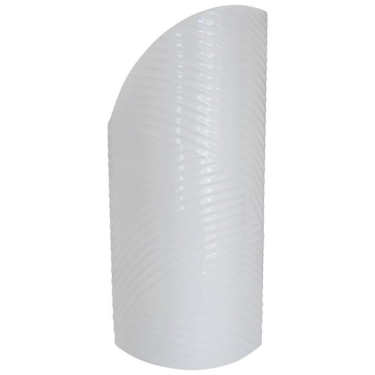 European White Ribbed Asymmetric Porcelain Ceramic Vase