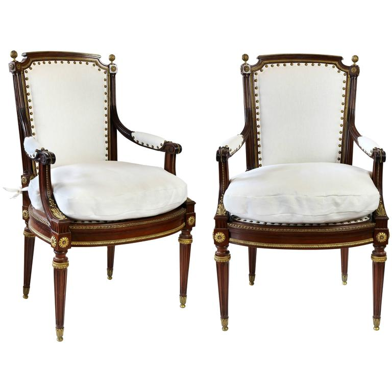 Pair of louis xvi style chaise a la reine armchairs at for Chaise louis xvi