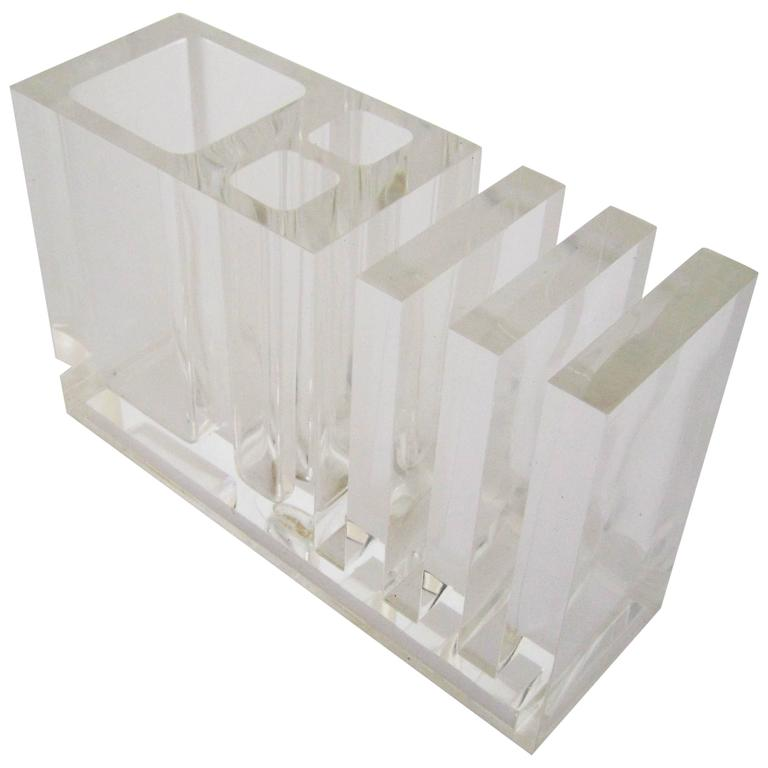 Vintage lucite desk organizer italy 1980s for sale at 1stdibs - Acrylic desk organizer ...