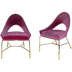 Smania Italian Modern Pair of Prototype Rose Pink Living Room Armchairs