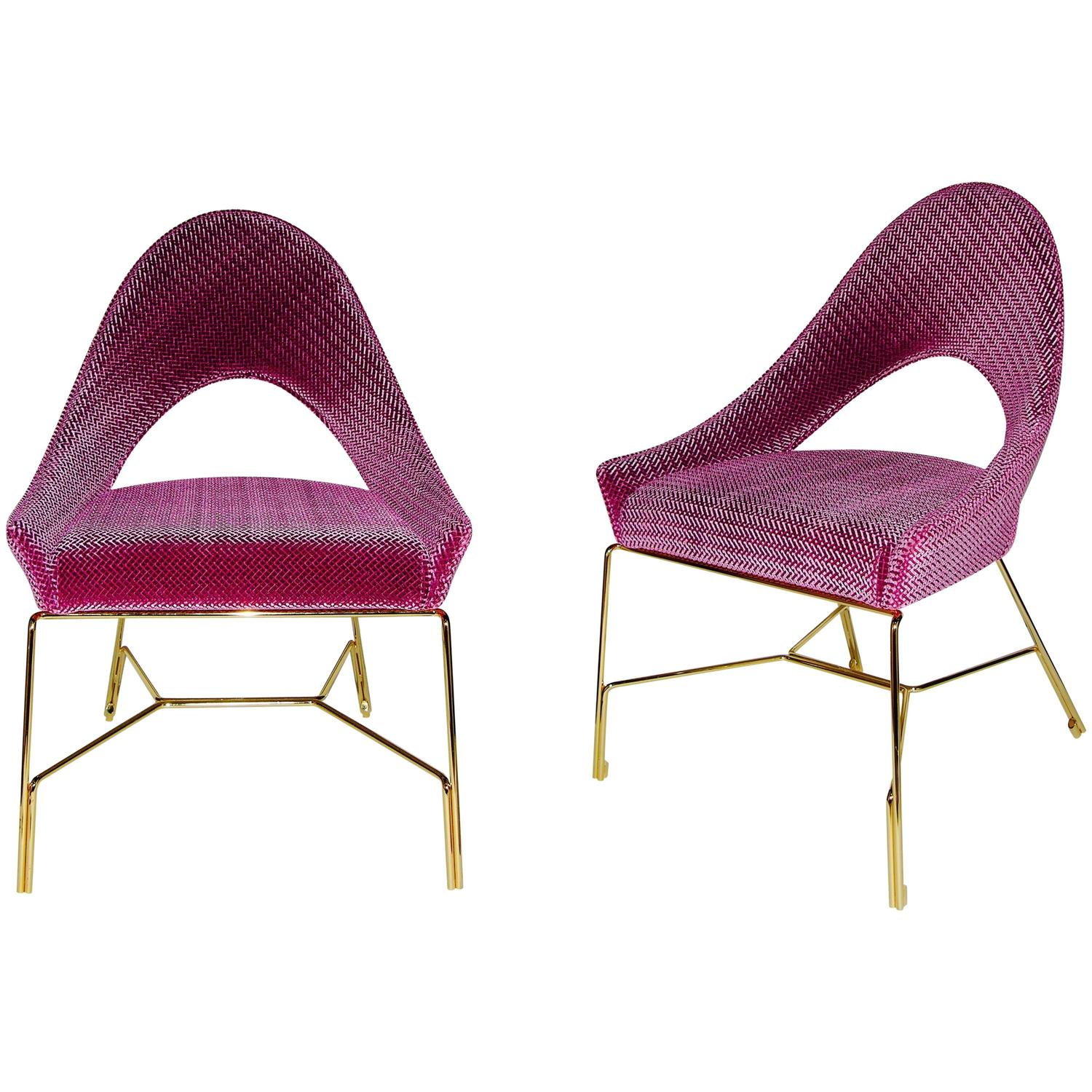 Smania Italian Modern Pair Of Prototype Rose Pink Living Room Armchairs At 1s