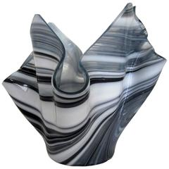 Black and White Handkerchief Vase in the Style of Venini