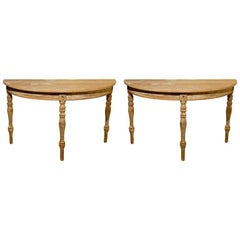 Pair of Swedish 19th Century Painted Demilune Tables with Original Finish